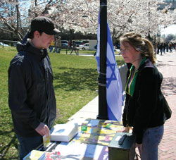 A student at Virginia Commonwealth University promotes Israel programs on campus
