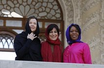 "U.S. actresses Annette Bening, left, and Alfre Woodard, right, pose with Iranian actress Fatemeh Motamed Arya, prior to start of a seminar ""Acting for Film"" given by Bening and Woodard in Iran."