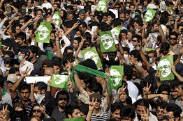 Supporters of opposition leader Mir Hossein Mousavi marched in the streets of Tehran Monday.
