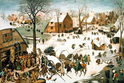 A blanket of snow covers the little town of Bethlehem, in Pieter Bruegel's oil painting from 1566.