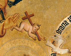 The baby Jesus flies down from heaven on the back of a cross, in this detail from Master Bertram's 14th-century Annunciation scene.