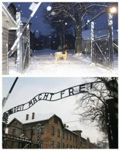 This two photo combination shows above: a Polish Police handout showing the entrance to the former Nazi death camp Auschwitz Birkenau, without the Nazi infamous iron sign inscription declaring 'Arbeit Macht Frei', German translated to 'Work Sets You Free', which was stolen from the entrance of the former Auschwitz death camp, Polish police said, in Oswiecim, southern Poland, Friday, Dec. 18, 2009. The photo below shows an exact replica of the sign, produced when the original received restoration work years ago, which was quickly hung in its place, Friday Dec. 18, 2009. (AP Photo)