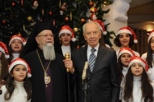 President Peres with Archbishop Chacour. Photo: Mark Neyman/GPO