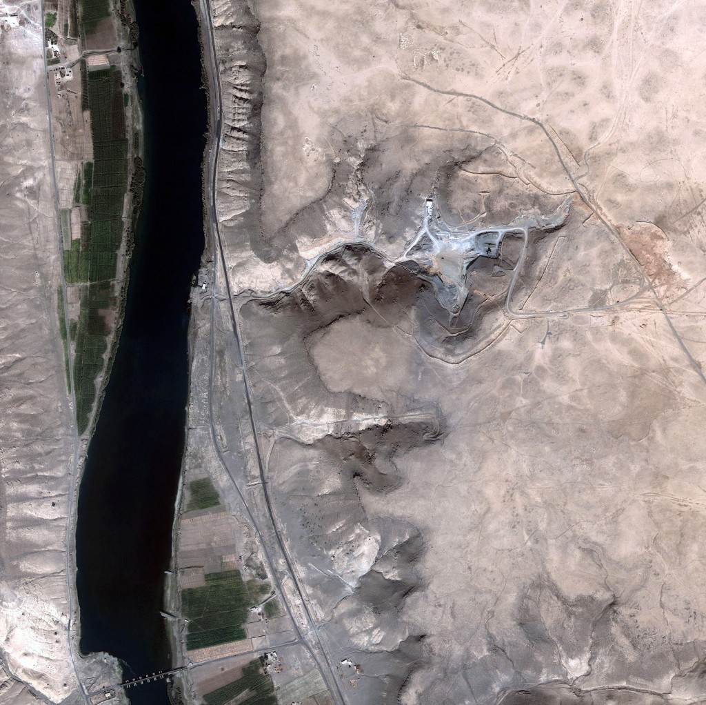 From above: A satellite image of the Syrian reactor site one month after it was bombed by Israeli forces in September 2007.