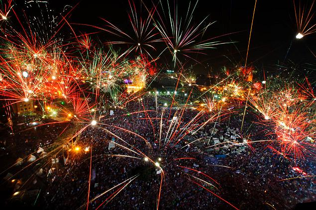 AMR NABIL/AP Fireworks explode over Tahrir Square on July 3 as throngs of protesters celebrate the removal of Islamist President Mohammed Morsi. Read more: http://www.nydailynews.com/opinion/coups-advance-democracy-article-1.1391469#ixzz2YTTuFKmM