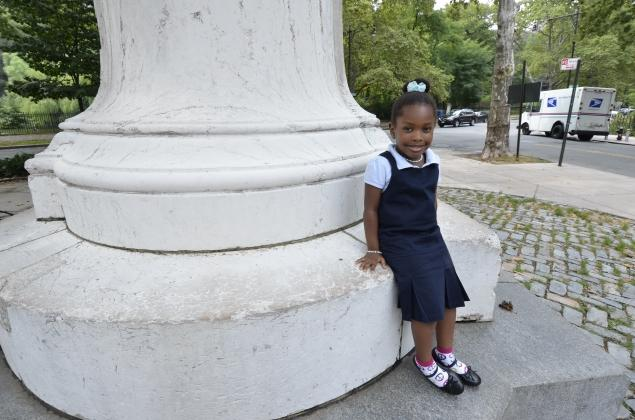 Five-year-old Joisahanne Hargrove plans to start kindergarten this September at the Harlem Hebrew Language Academy, a charter school that is attracting black and Latino students. / Chase Guttman