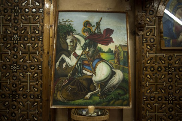 A painting that represents Mar Girgis or St. George killing a dragon hangs in the church in the Mar Girgis Monastery.