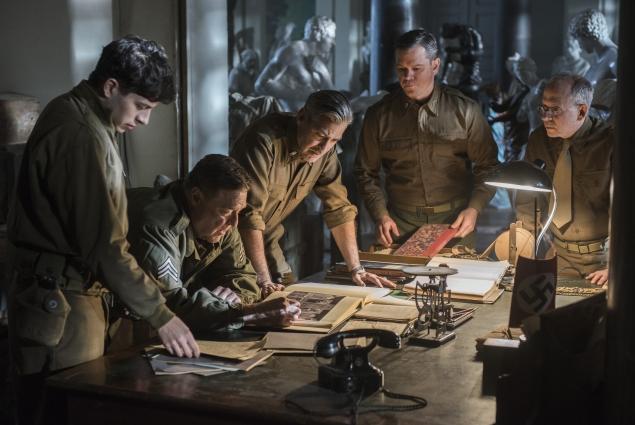 From left, Dimitri Leonidas, John Goodman, George Clooney, Matt Damon and Bob Balaban in The Monuments Men