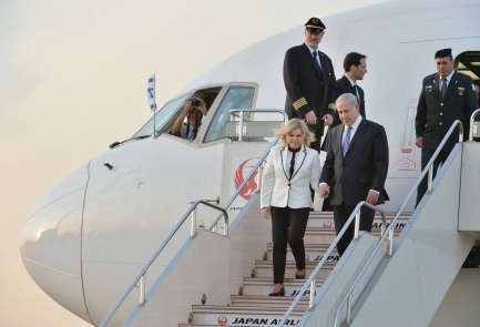 Prime Minister Benjamin Netanyahu and his wife Sara arrive in Japan on Sunday | Photo credit: AFP