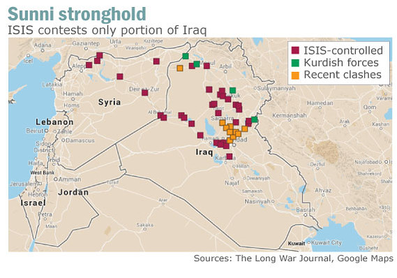 The ISIS insurgency wants to create a Sunni state in areas of Syria and Iraq.