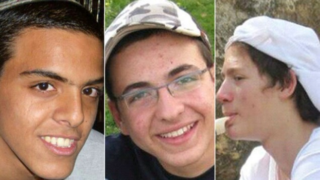 The three kidnapped and murdered teens, from left to right: Eyal Yifrach, Gil-ad Shaar and Naftali Fraenkel (photo credit: Courtesy)