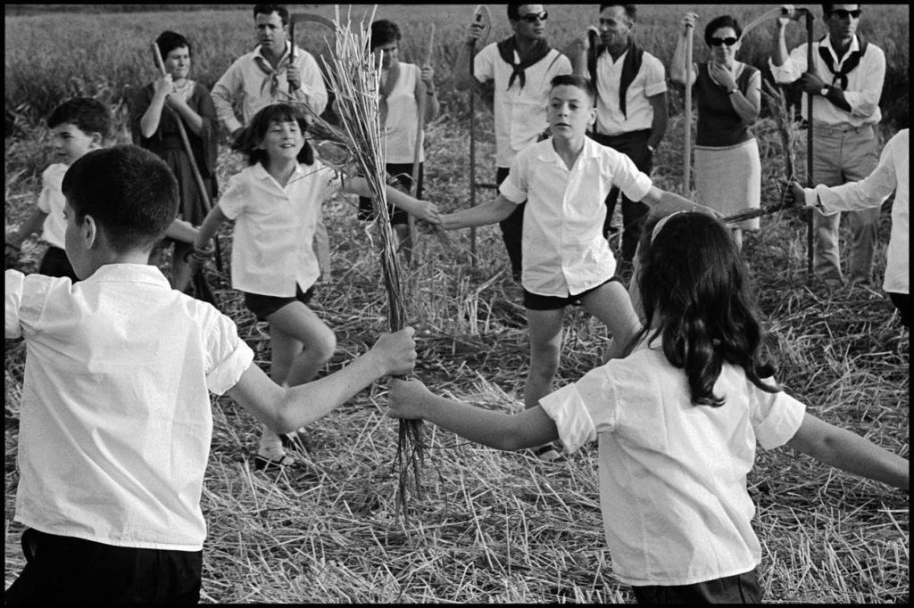 One distinctive Israeli innovation was the kibbutz, a collectivist or socialist agricultural community. Here, kibbutz members celebrate the Jewish festival of Passover in the Beit Shean Valley in 1967.