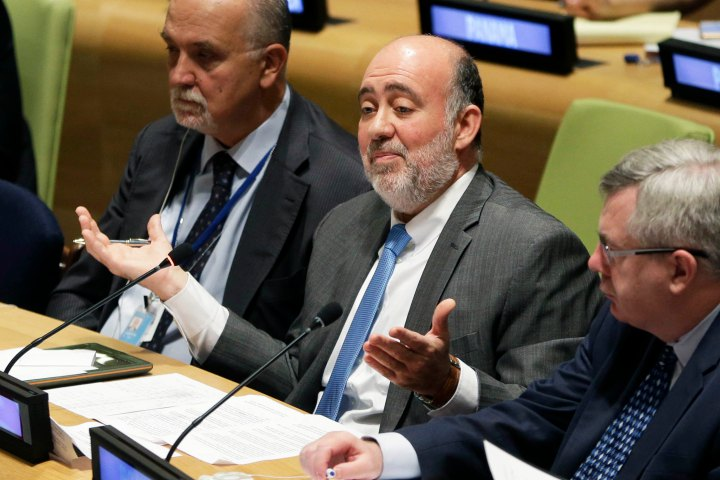 Israeli ambassador to the United Nations, Ron Prosor, center, speaks at a meeting of the General Assembly. Photo: AP