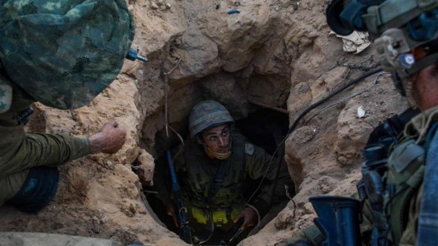 Soldiers from the Givati Brigade seen at the entrance to a Hamas 'attack tunnel' on Wednesday, July 23, 2014. (photo credit: IDF Spokesperson's Unit/Flash90)