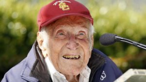 FILE -- May 9, 2014: Louis Zamperini speaks at a news conference in Pasadena, Calif. (AP)