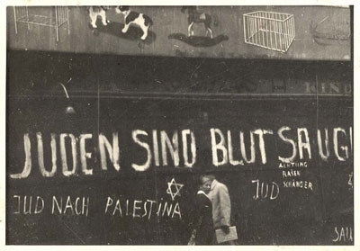 "Antisemitic graffiti after Kristallnacht: ""Jews are bloodsuckers,"" Germany. (Yad Vashem)"