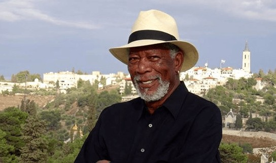 Morgan Freeman in Jerusalem (Facebook)